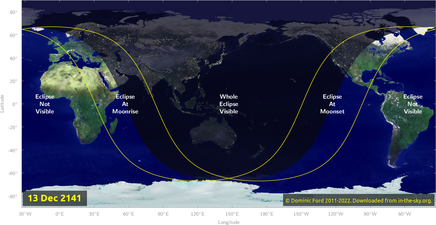 Map of where the eclipse of December 2141 will be visible.