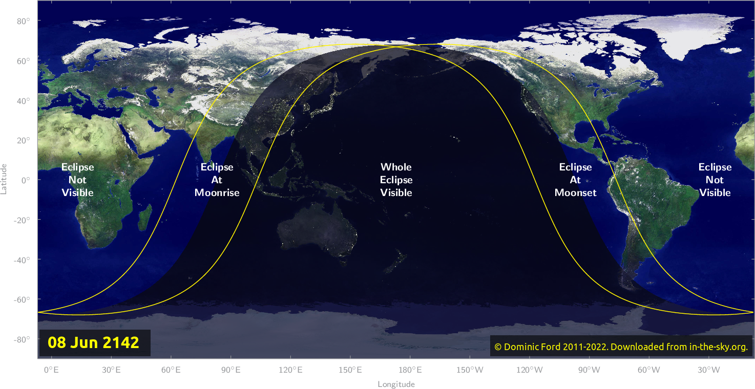 Map of where the eclipse of June 2142 will be visible.