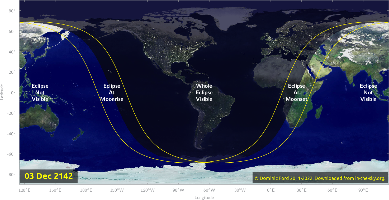 Map of where the eclipse of December 2142 will be visible.