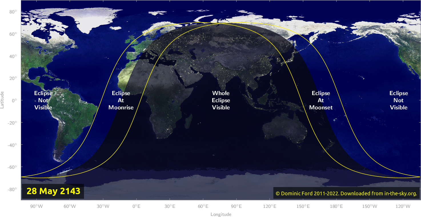 Map of where the eclipse of May 2143 will be visible.