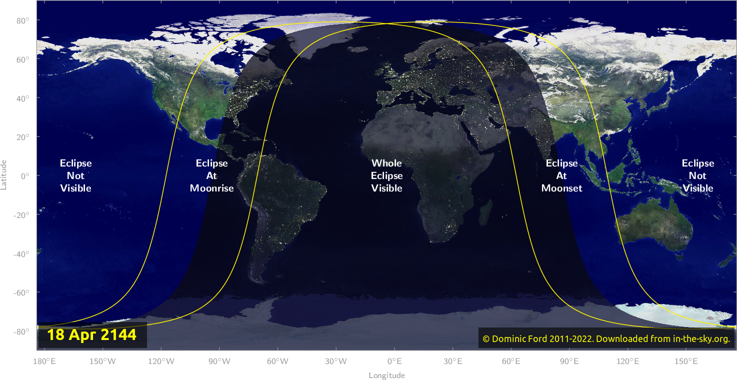 Map of where the eclipse of April 2144 will be visible.