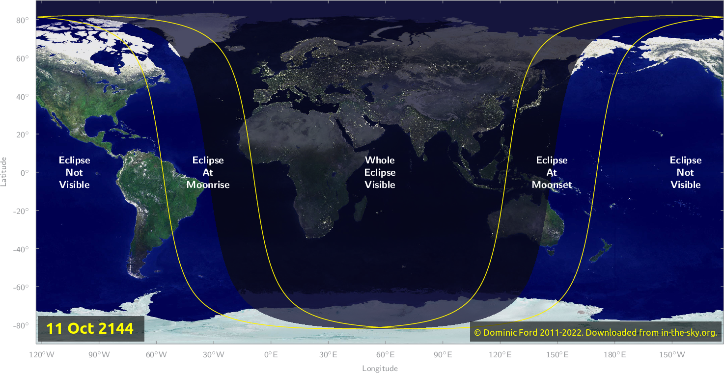 Map of where the eclipse of October 2144 will be visible.