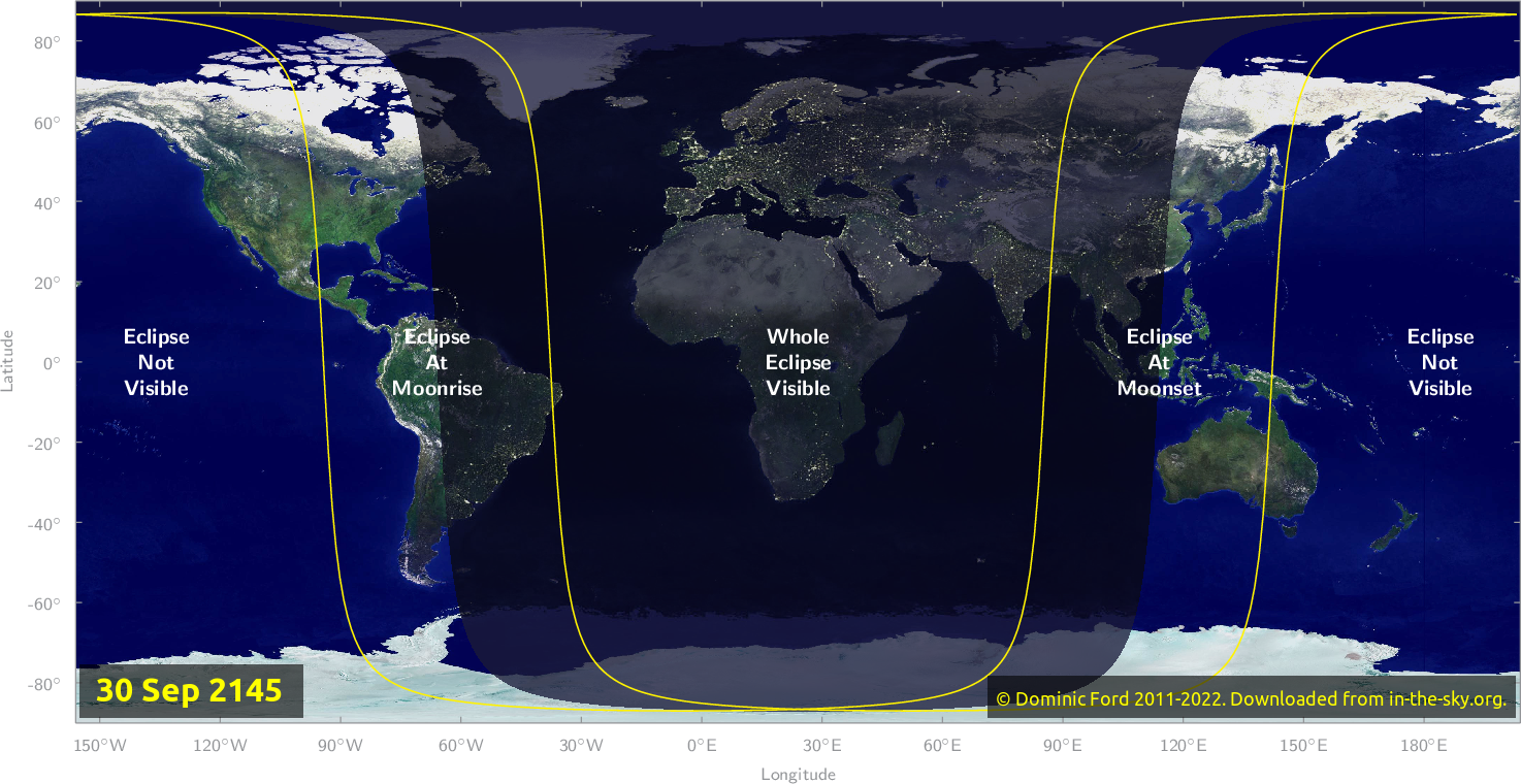 Map of where the eclipse of September 2145 will be visible.