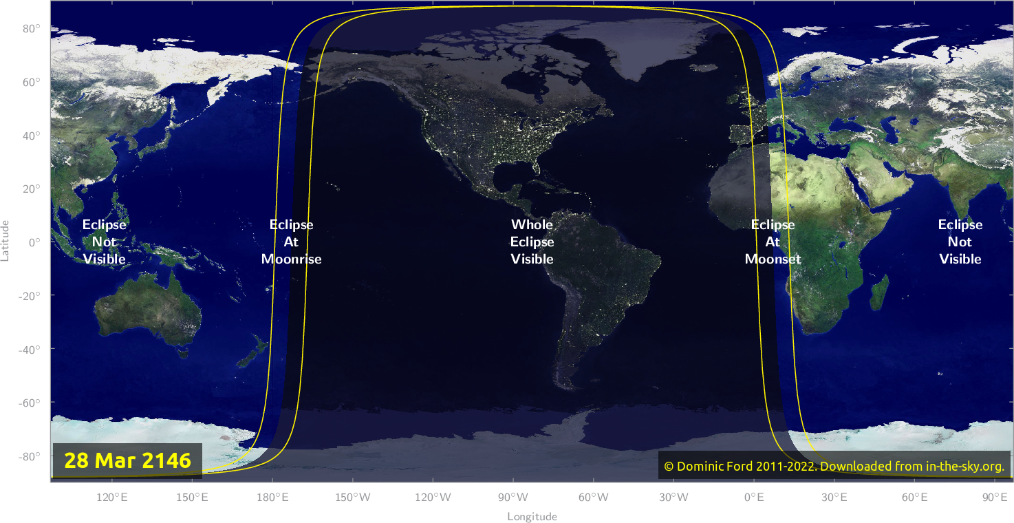 Map of where the eclipse of March 2146 will be visible.