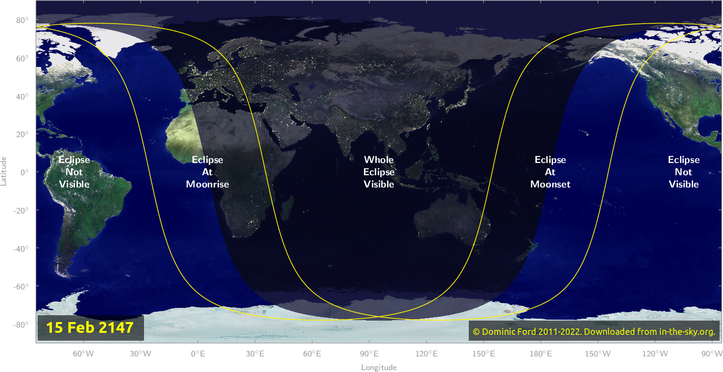 Map of where the eclipse of February 2147 will be visible.