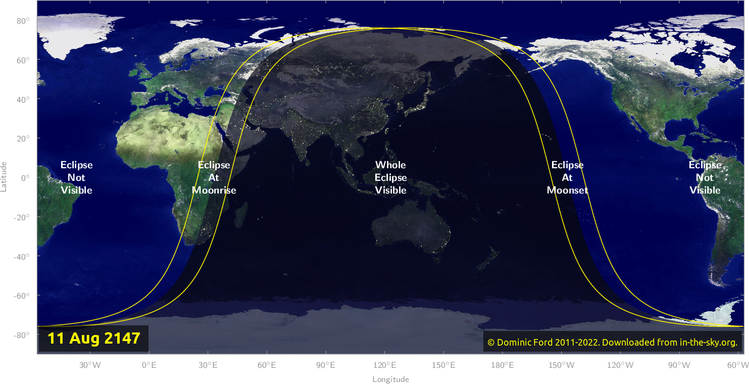 Map of where the eclipse of August 2147 will be visible.