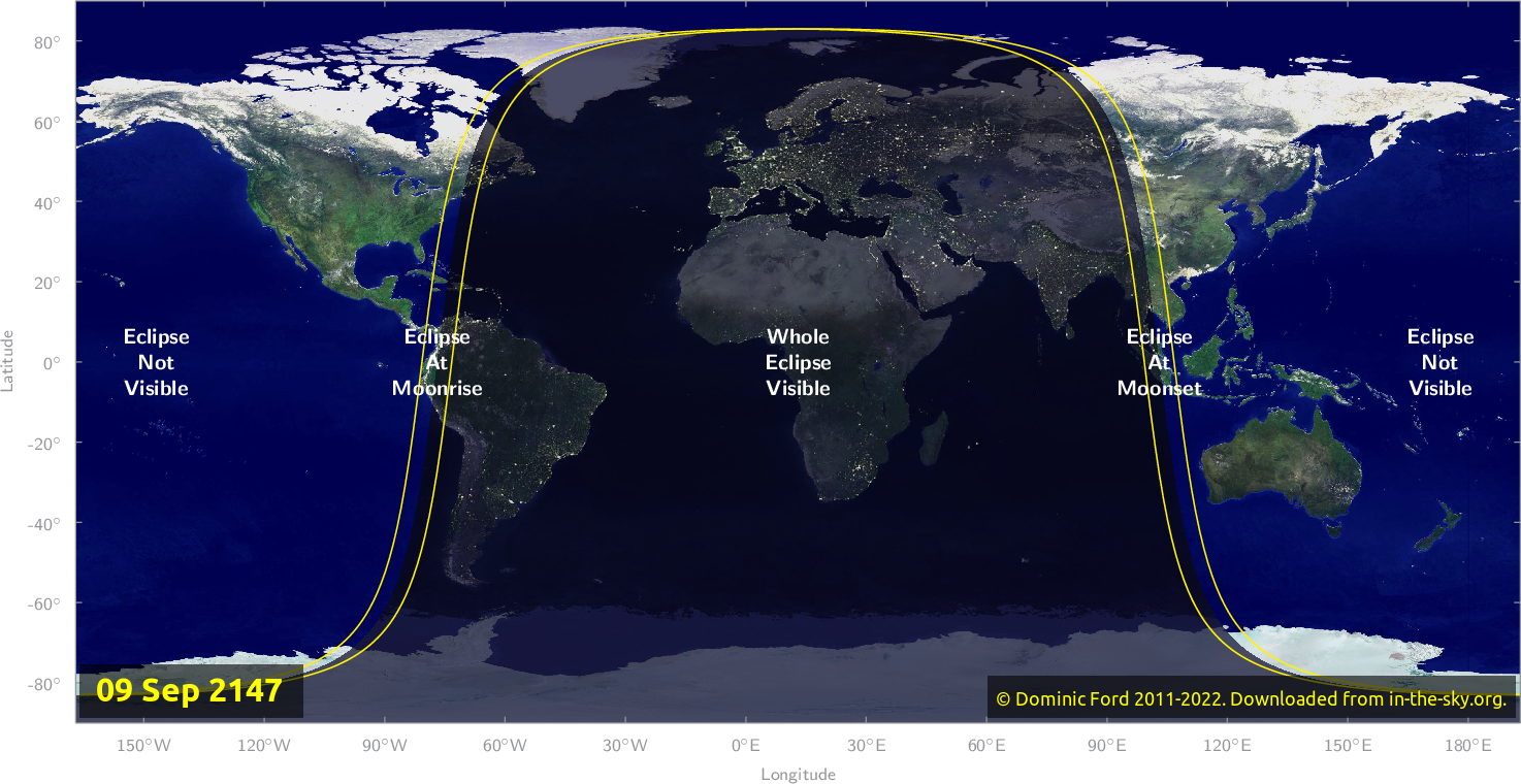 Map of where the eclipse of September 2147 will be visible.