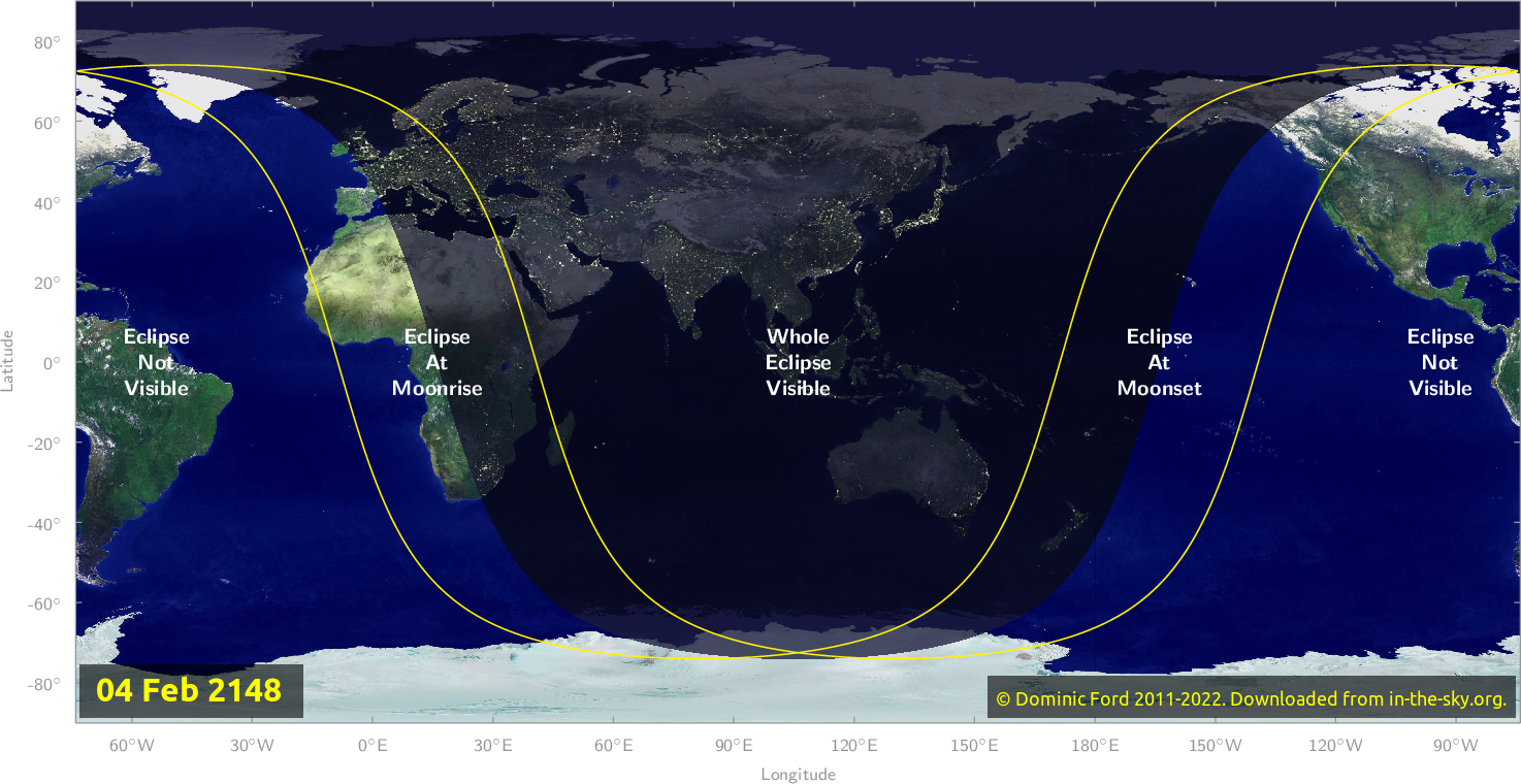 Map of where the eclipse of February 2148 will be visible.
