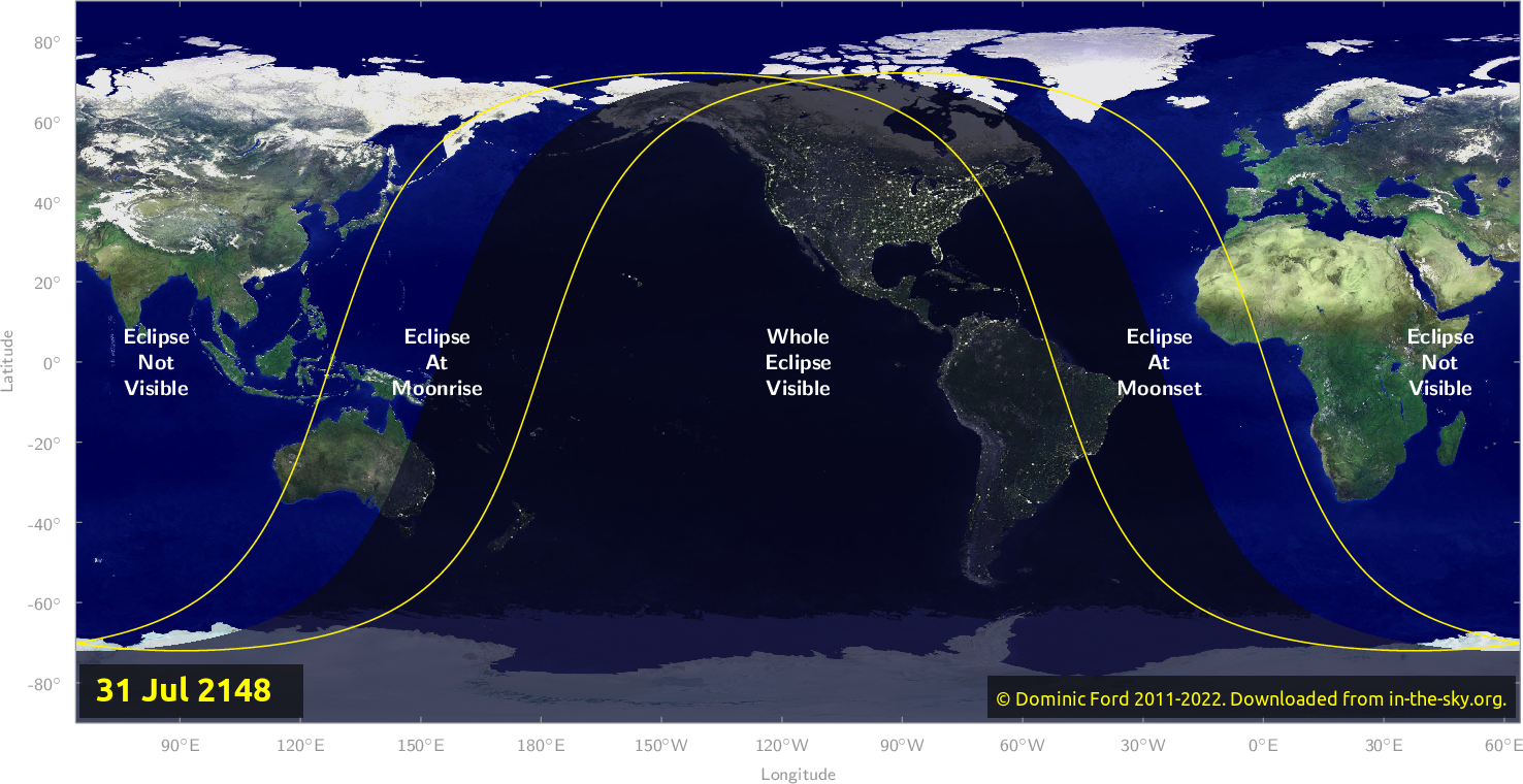 Map of where the eclipse of July 2148 will be visible.