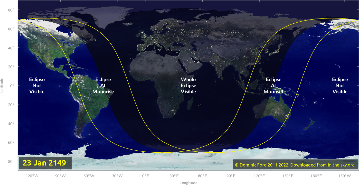 Map of where the eclipse of January 2149 will be visible.