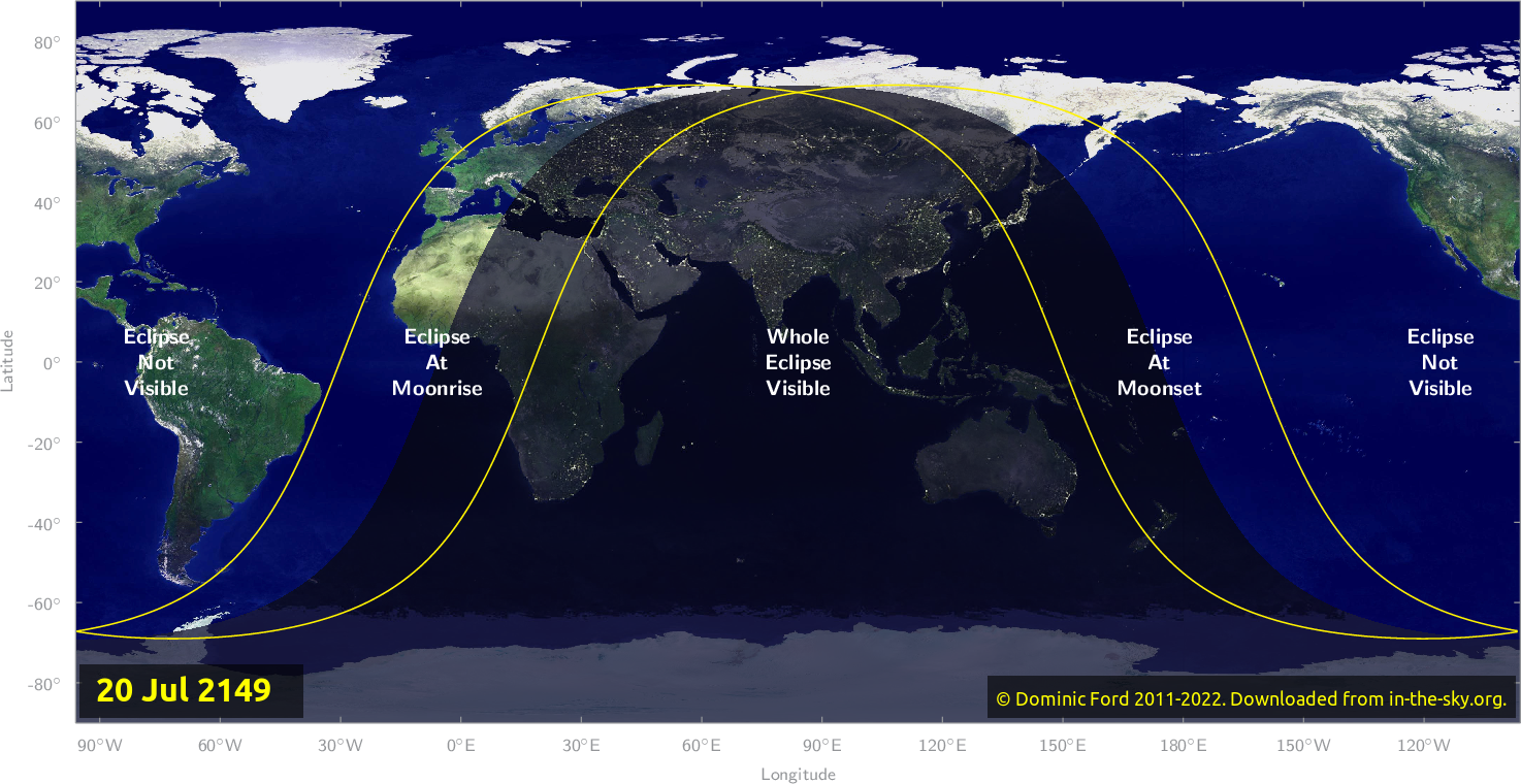 Map of where the eclipse of July 2149 will be visible.