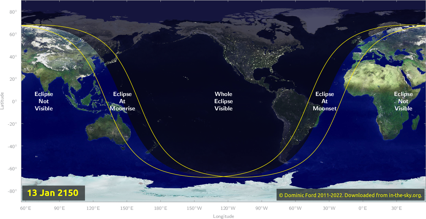 Map of where the eclipse of January 2150 will be visible.