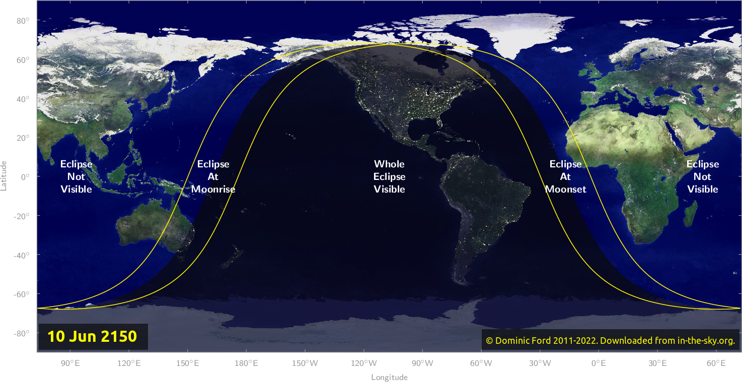 Map of where the eclipse of June 2150 will be visible.