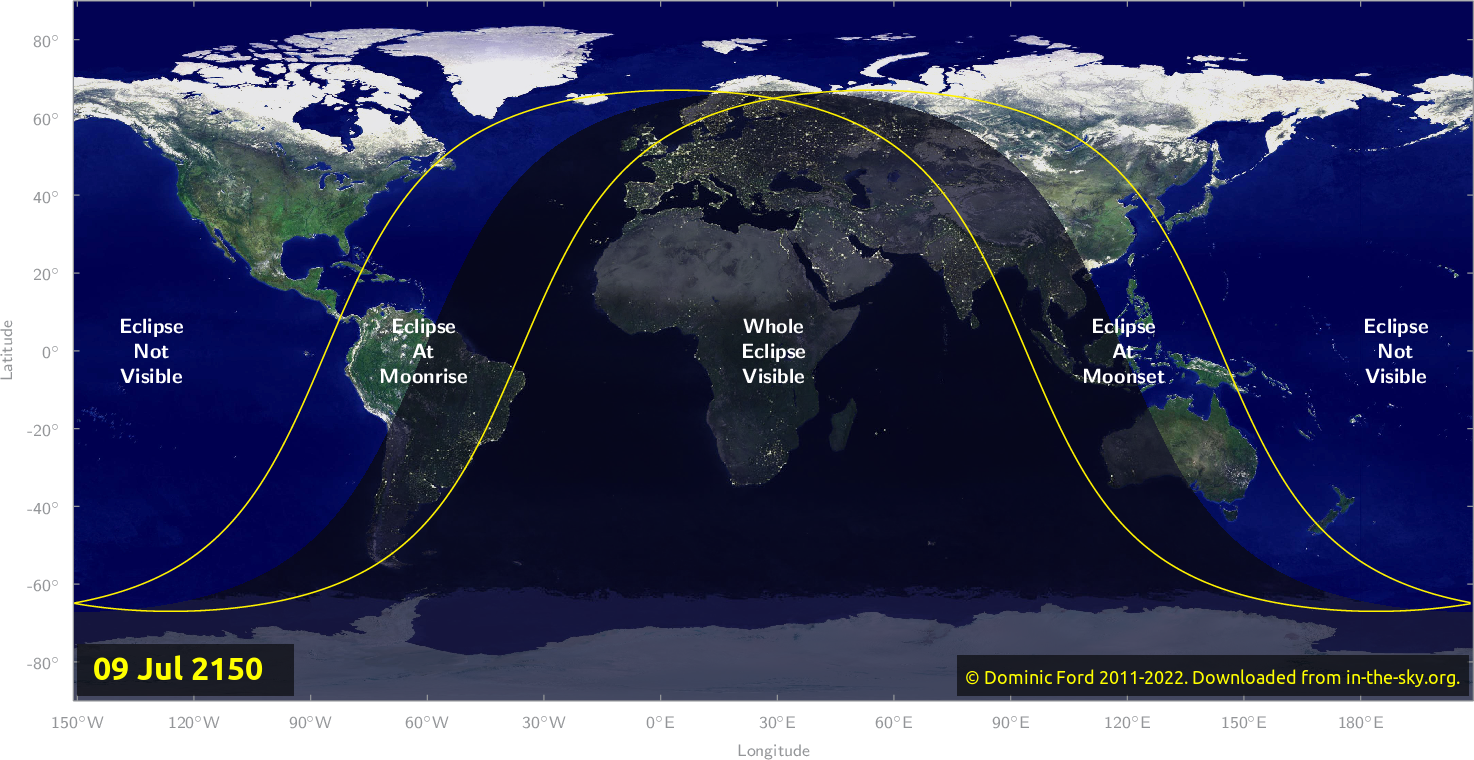 Map of where the eclipse of July 2150 will be visible.