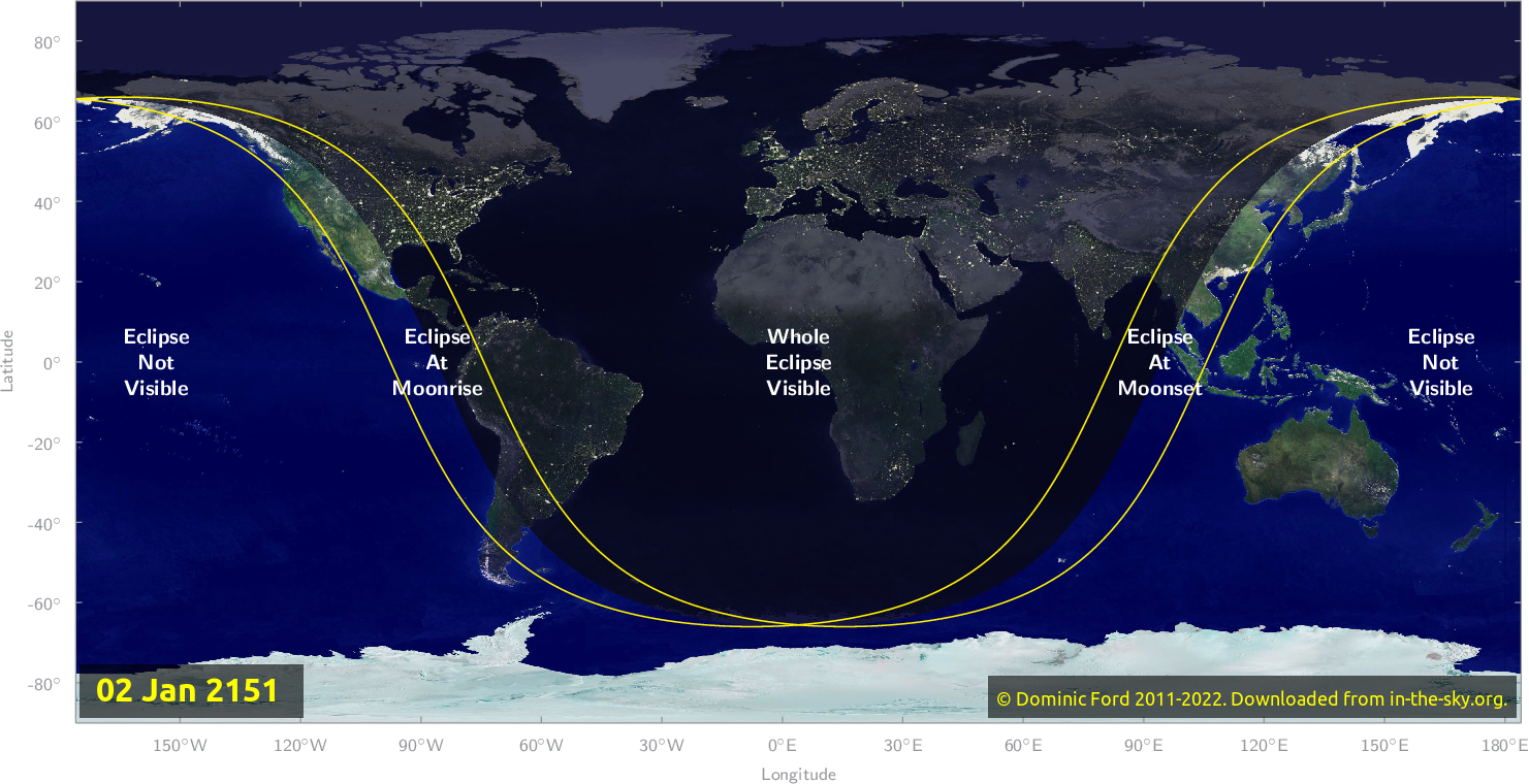 Map of where the eclipse of January 2151 will be visible.