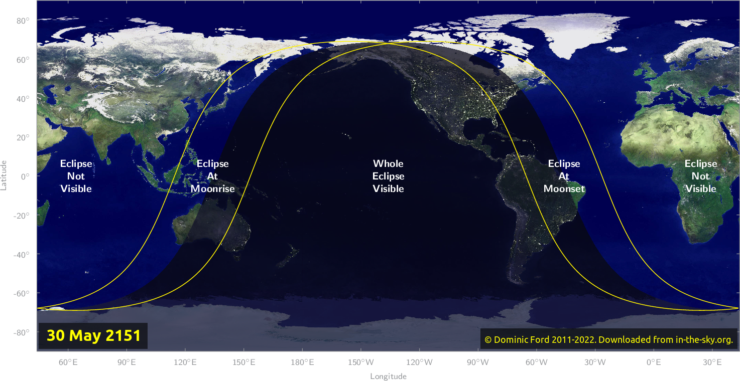 Map of where the eclipse of May 2151 will be visible.