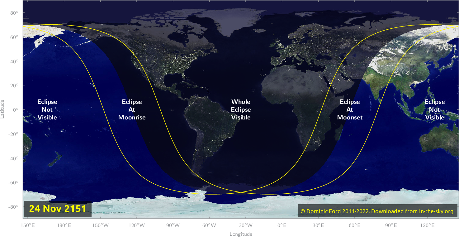 Map of where the eclipse of November 2151 will be visible.