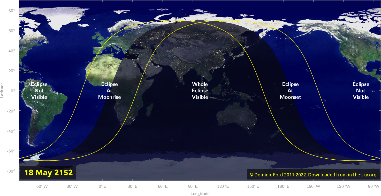 Map of where the eclipse of May 2152 will be visible.