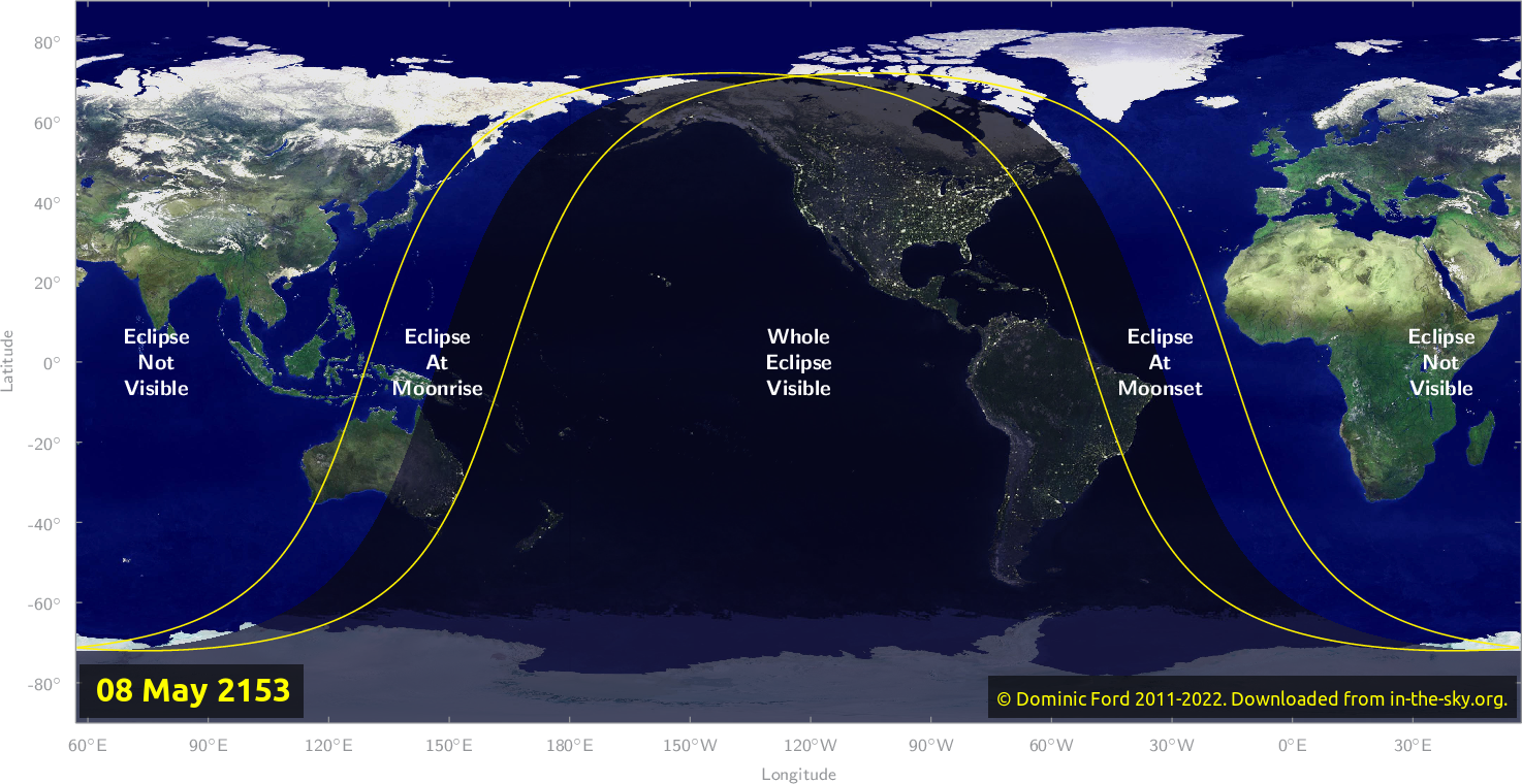 Map of where the eclipse of May 2153 will be visible.
