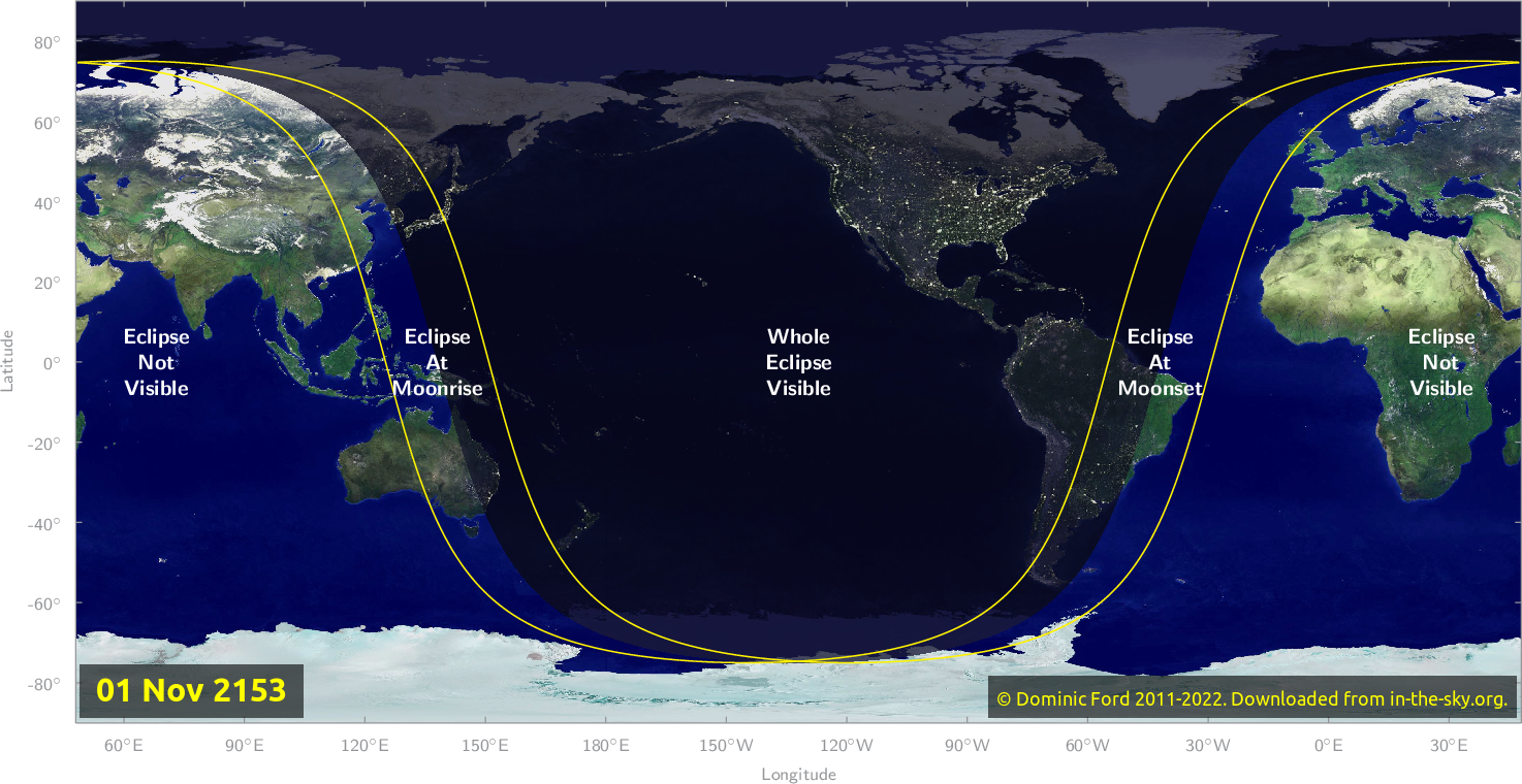 Map of where the eclipse of November 2153 will be visible.