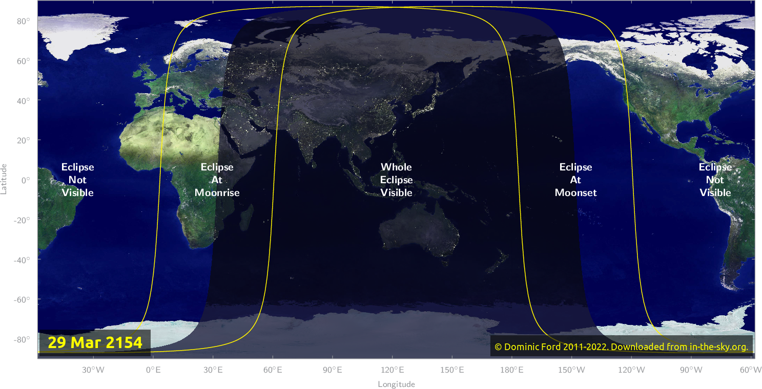 Map of where the eclipse of March 2154 will be visible.