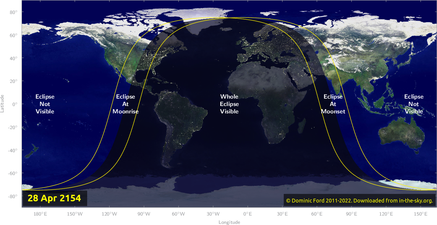 Map of where the eclipse of April 2154 will be visible.