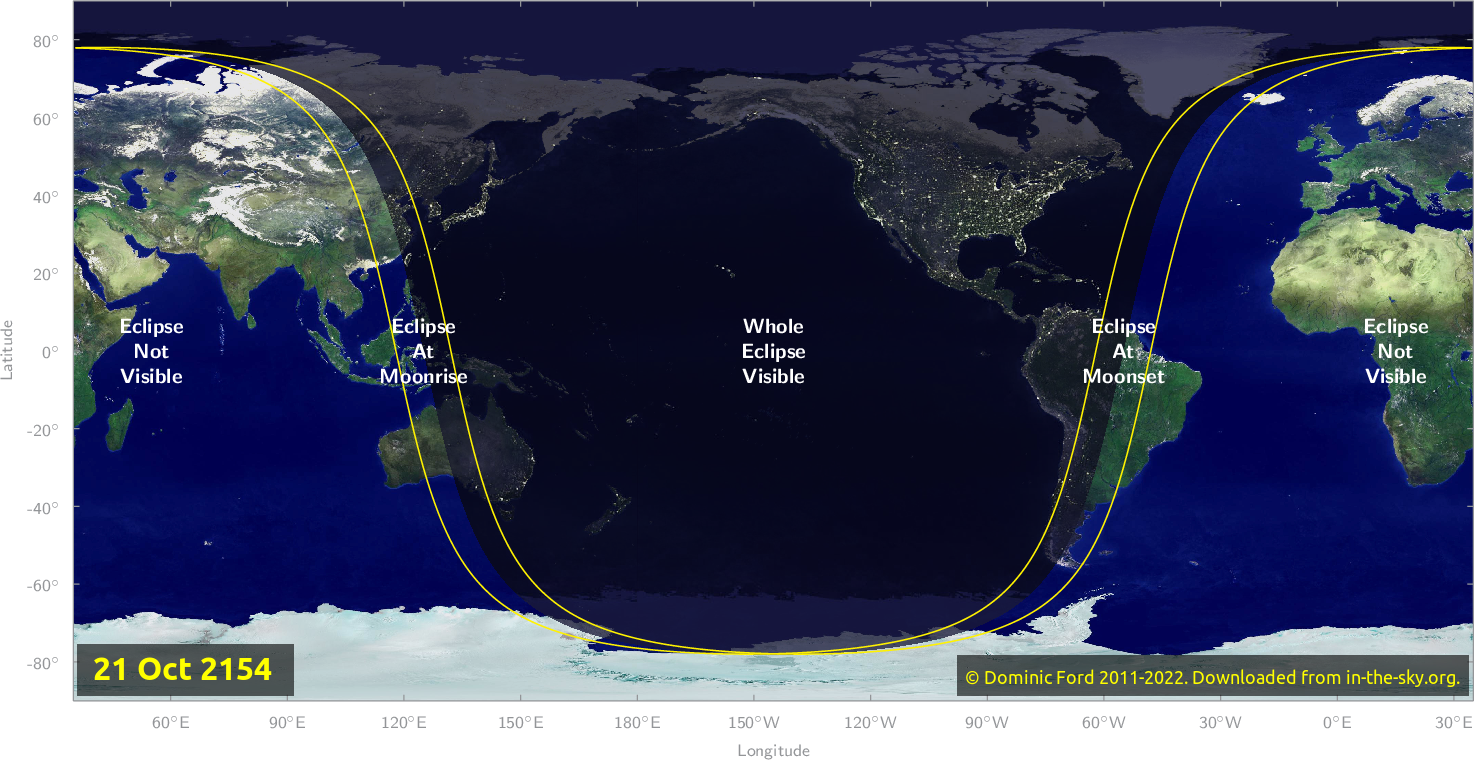 Map of where the eclipse of October 2154 will be visible.