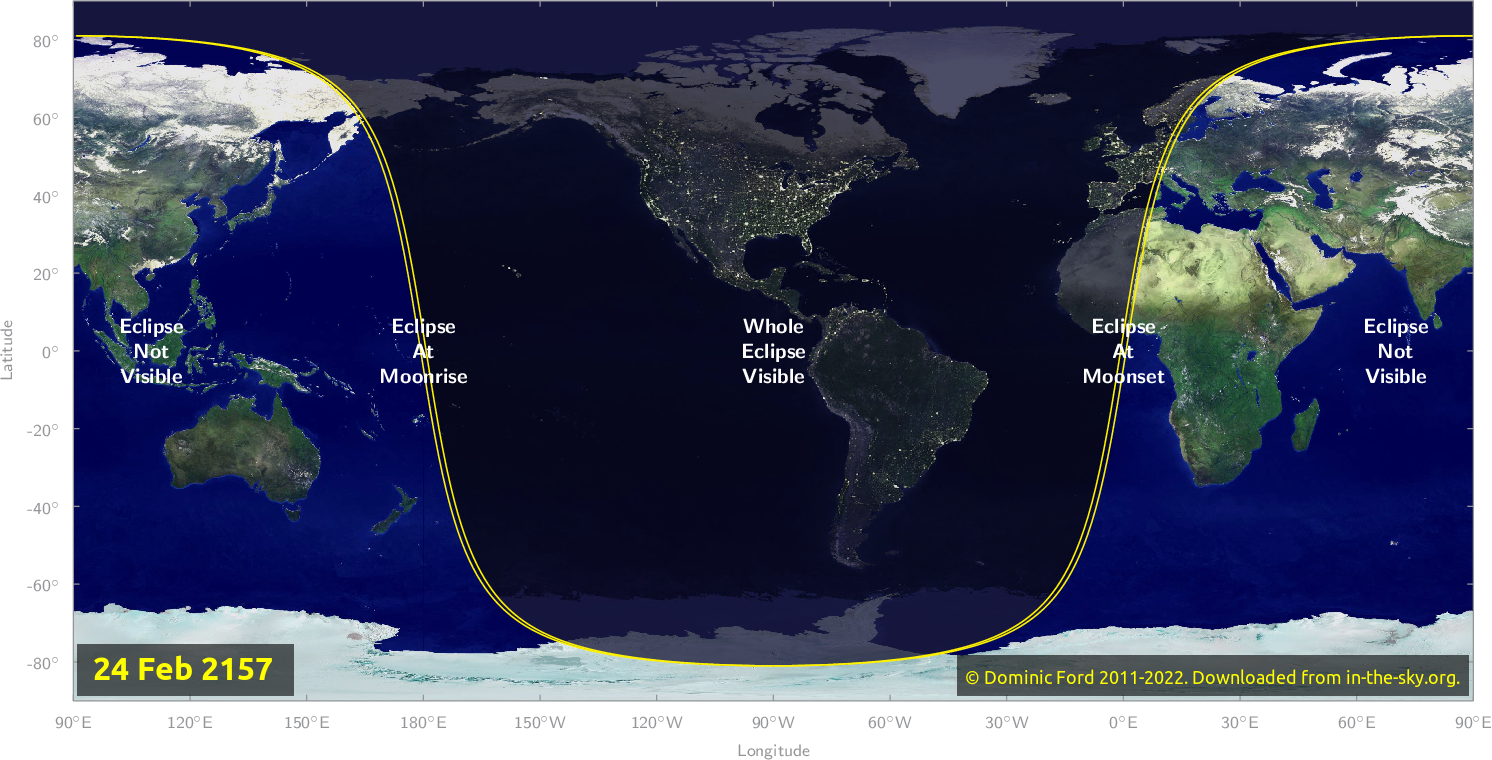 Map of where the eclipse of February 2157 will be visible.