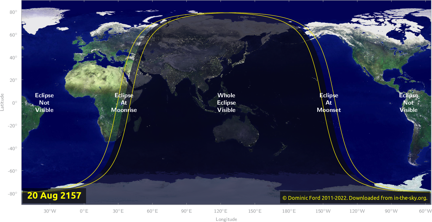 Map of where the eclipse of August 2157 will be visible.