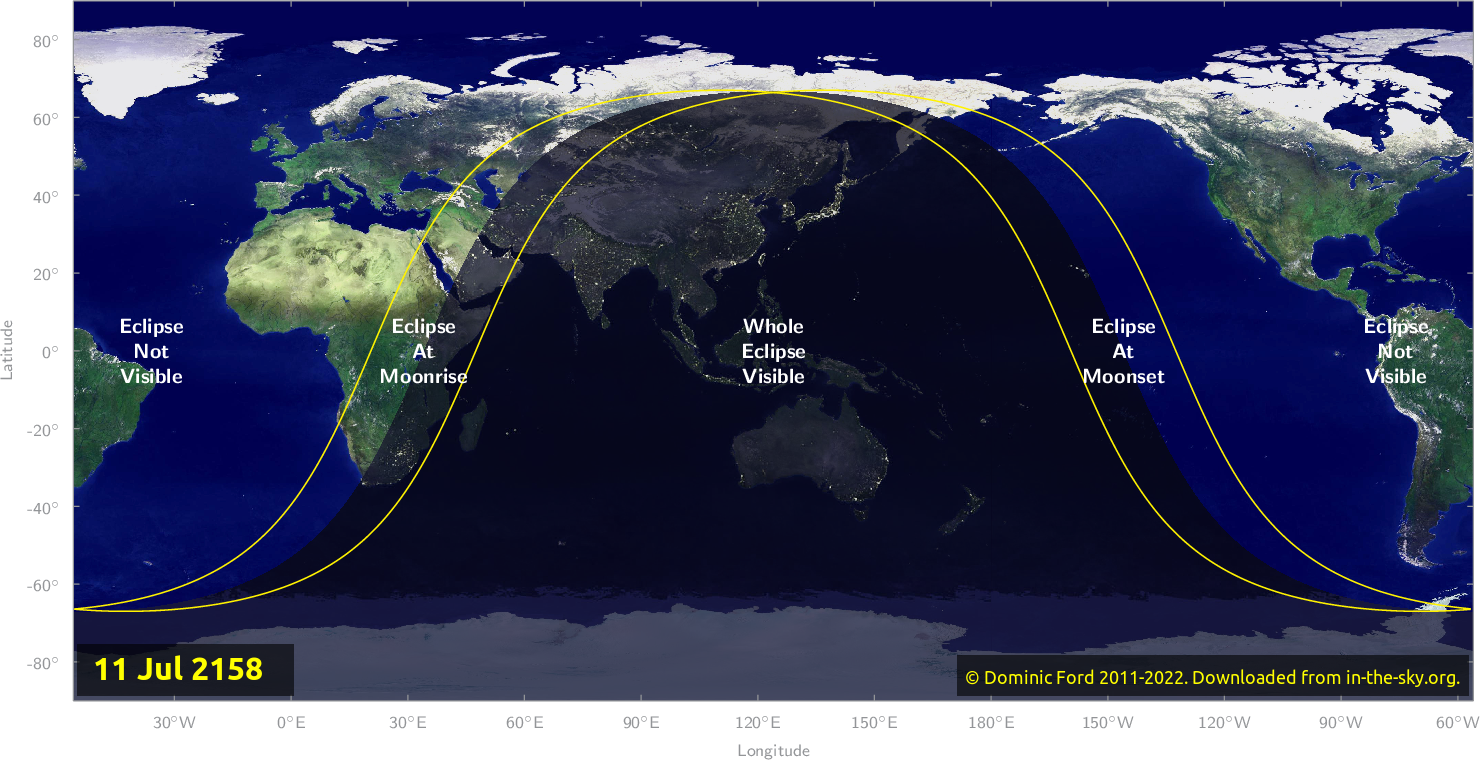 Map of where the eclipse of July 2158 will be visible.