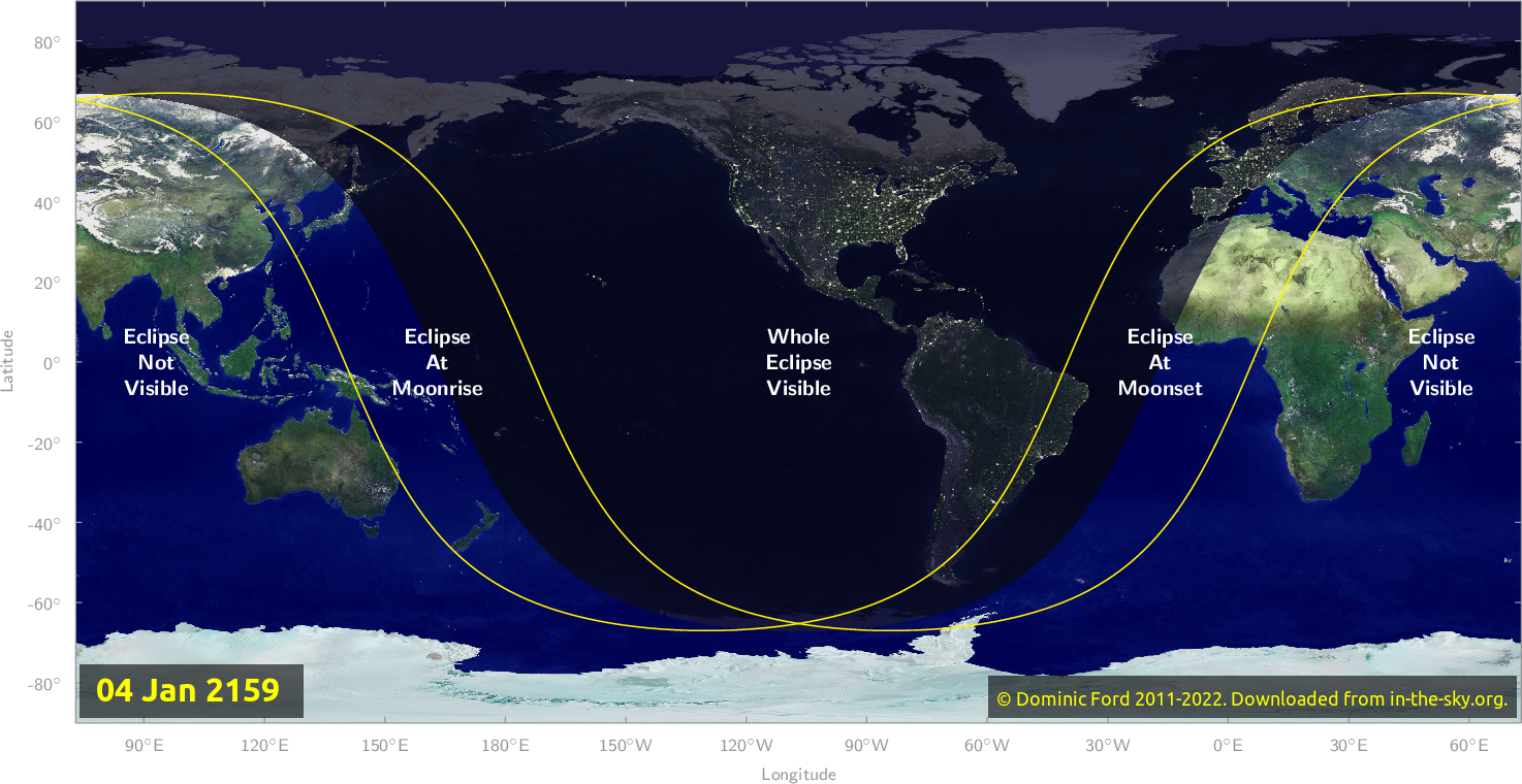 Map of where the eclipse of January 2159 will be visible.