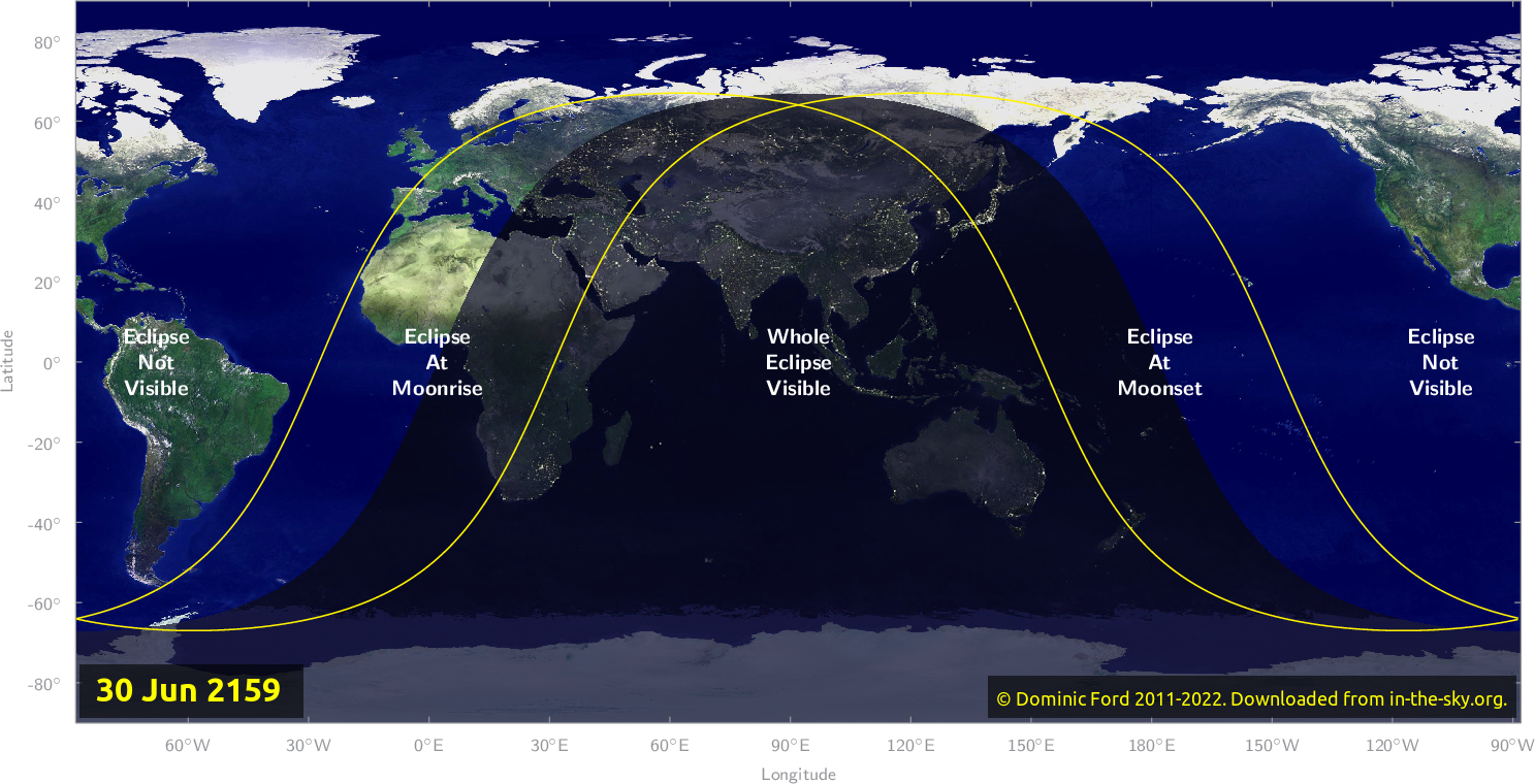 Map of where the eclipse of June 2159 will be visible.