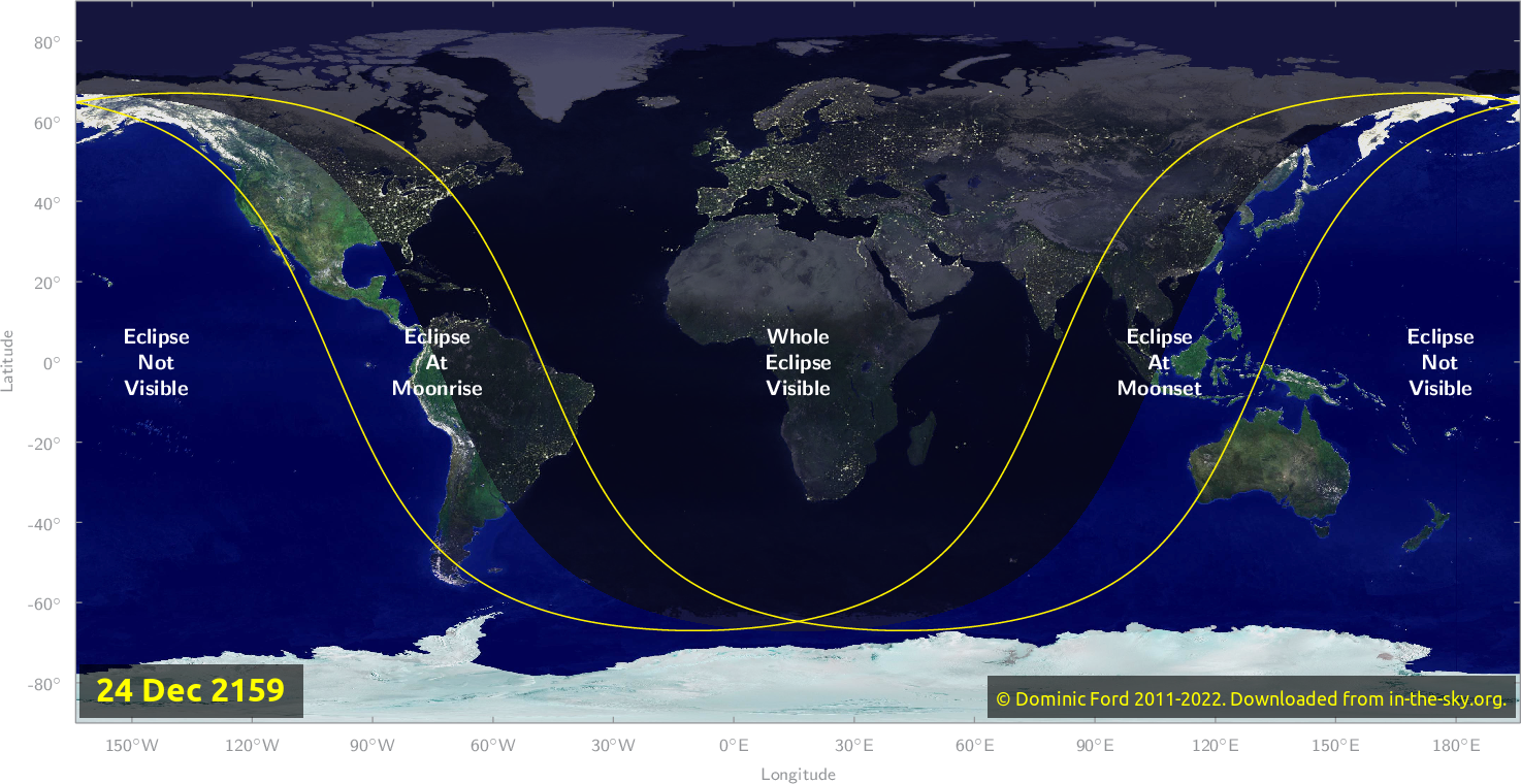 Map of where the eclipse of December 2159 will be visible.