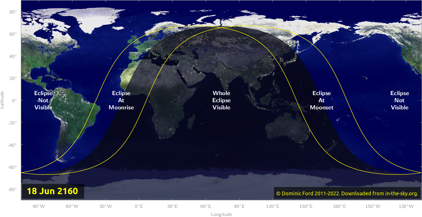 Map of where the eclipse of June 2160 will be visible.