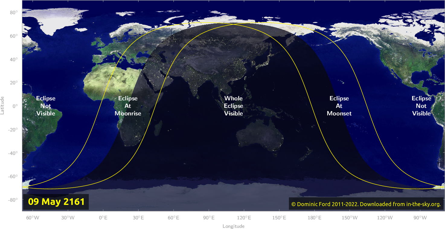 Map of where the eclipse of May 2161 will be visible.