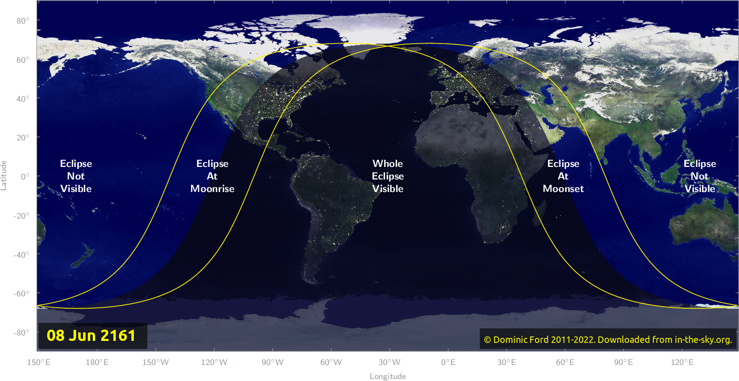 Map of where the eclipse of June 2161 will be visible.