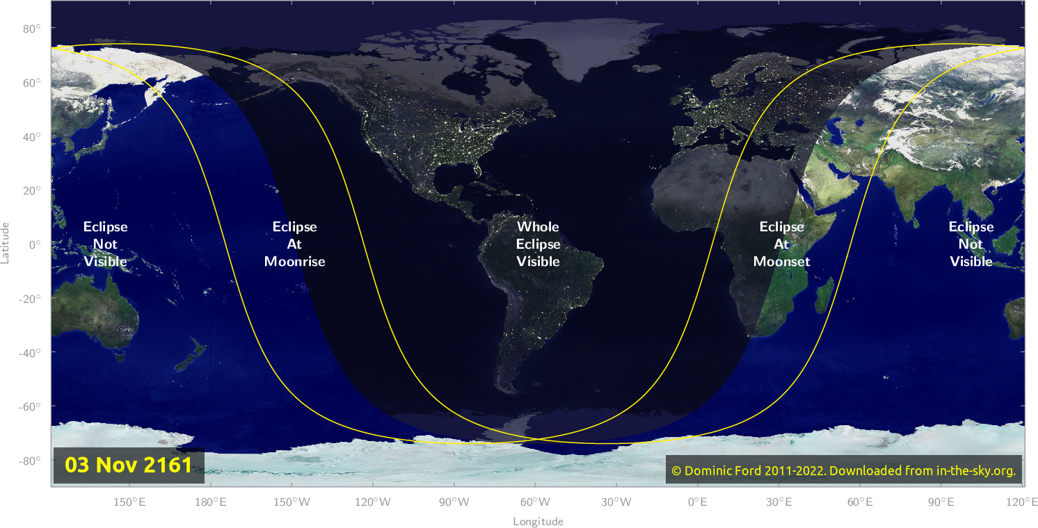 Map of where the eclipse of November 2161 will be visible.