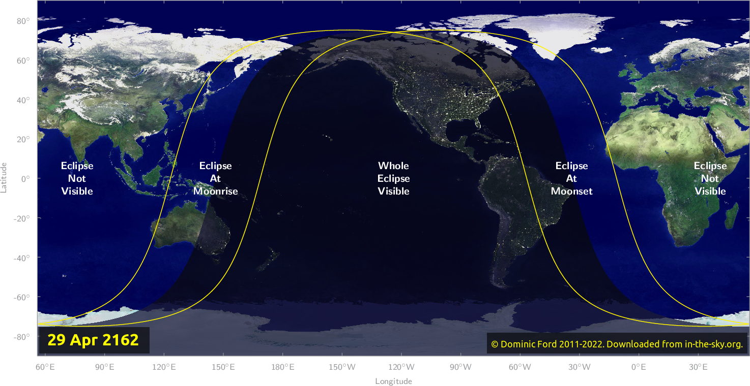 Map of where the eclipse of April 2162 will be visible.