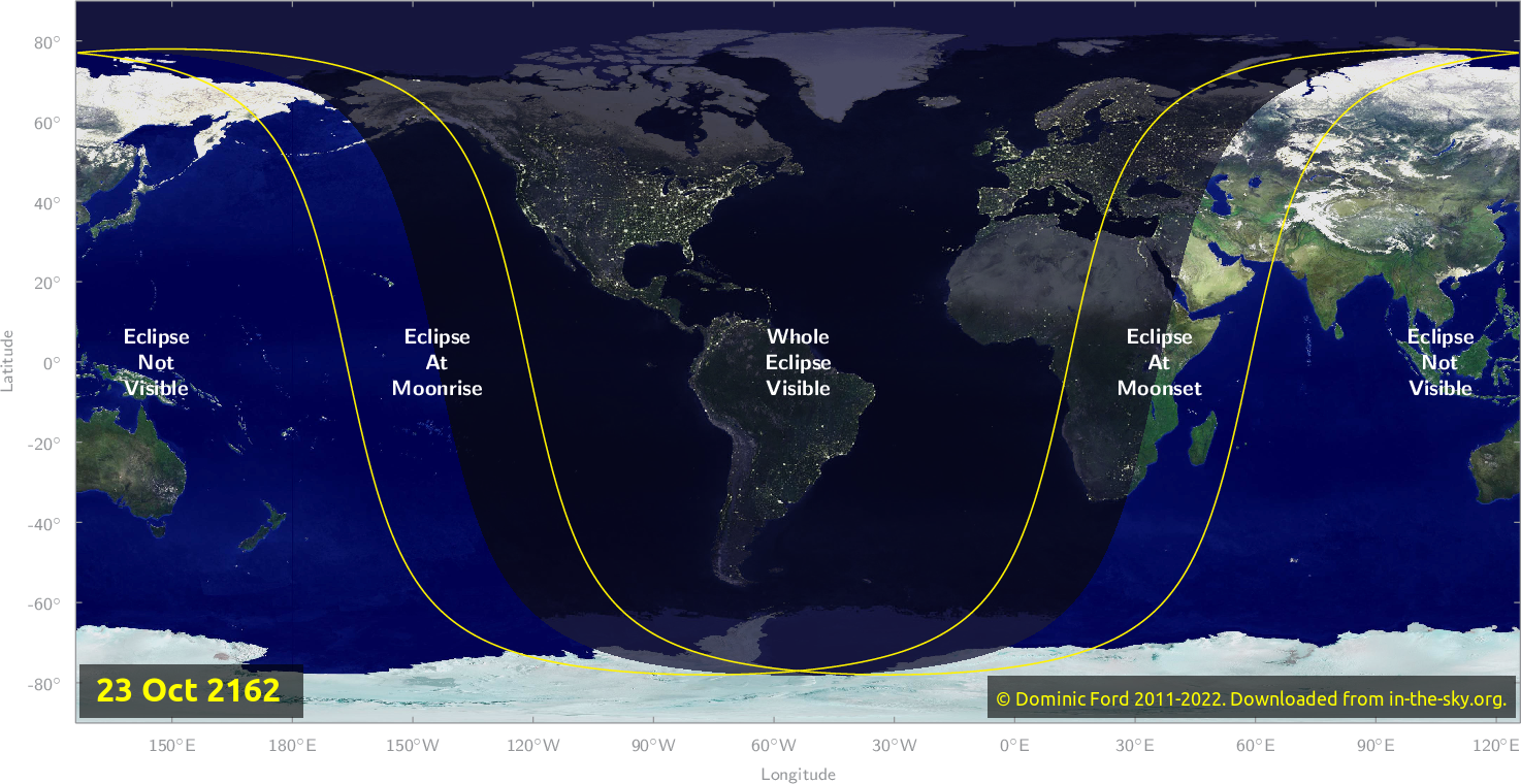 Map of where the eclipse of October 2162 will be visible.