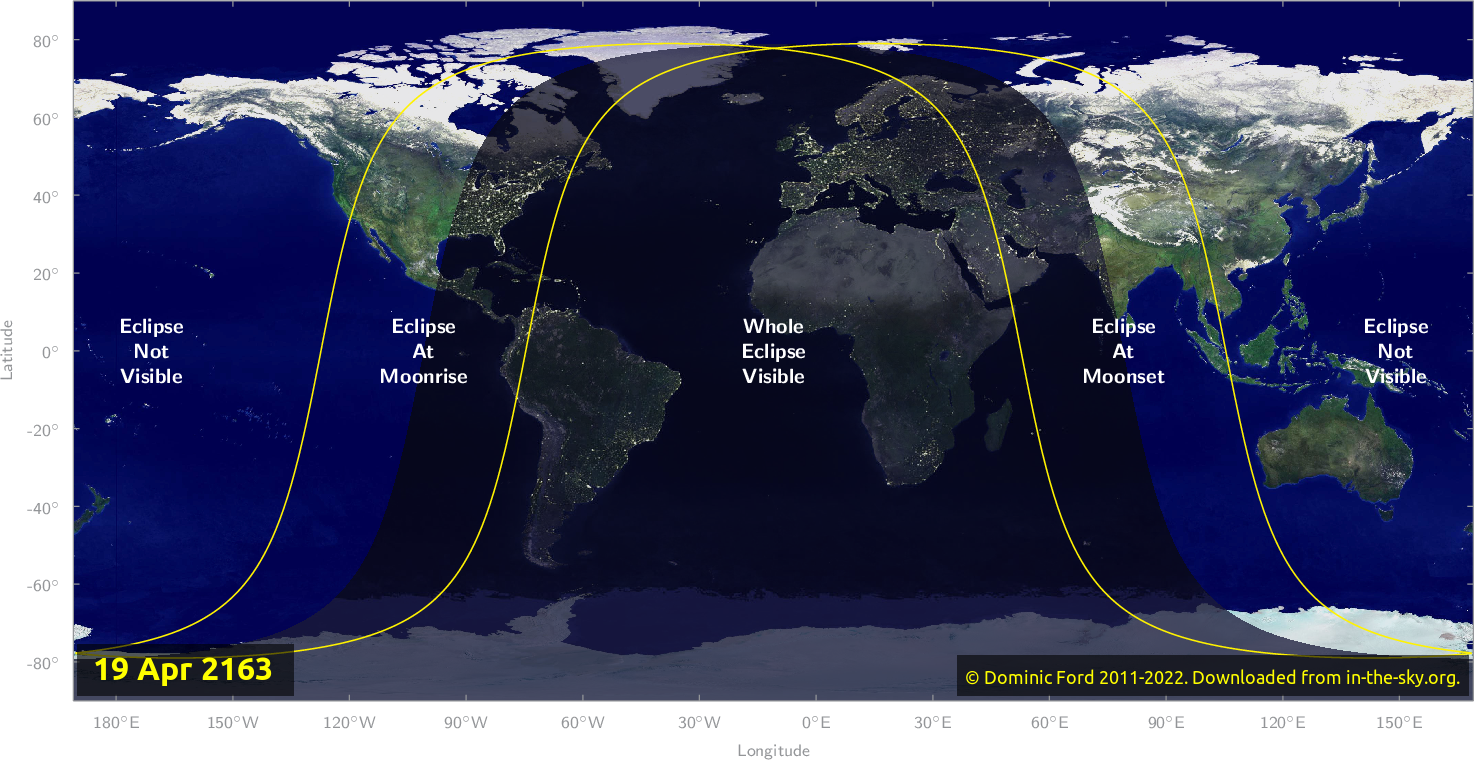 Map of where the eclipse of April 2163 will be visible.