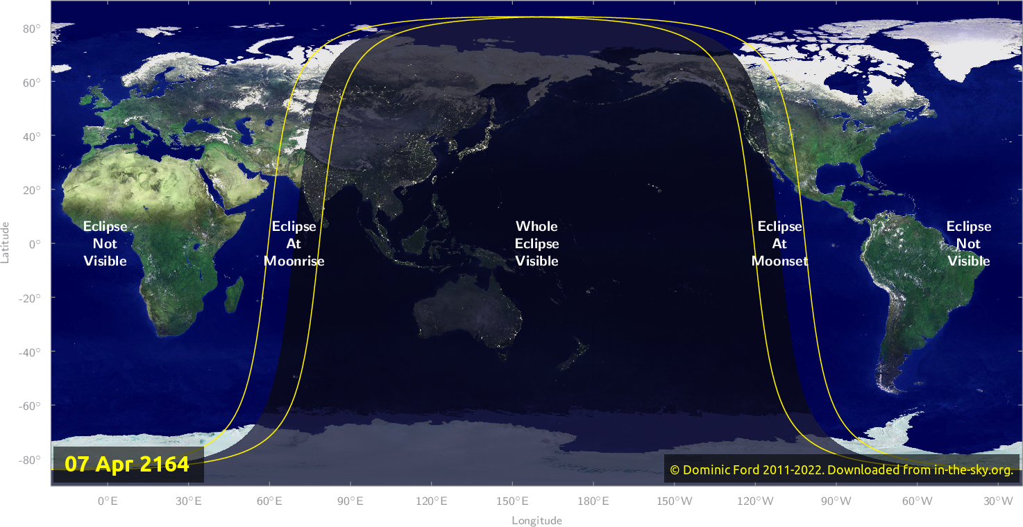 Map of where the eclipse of April 2164 will be visible.