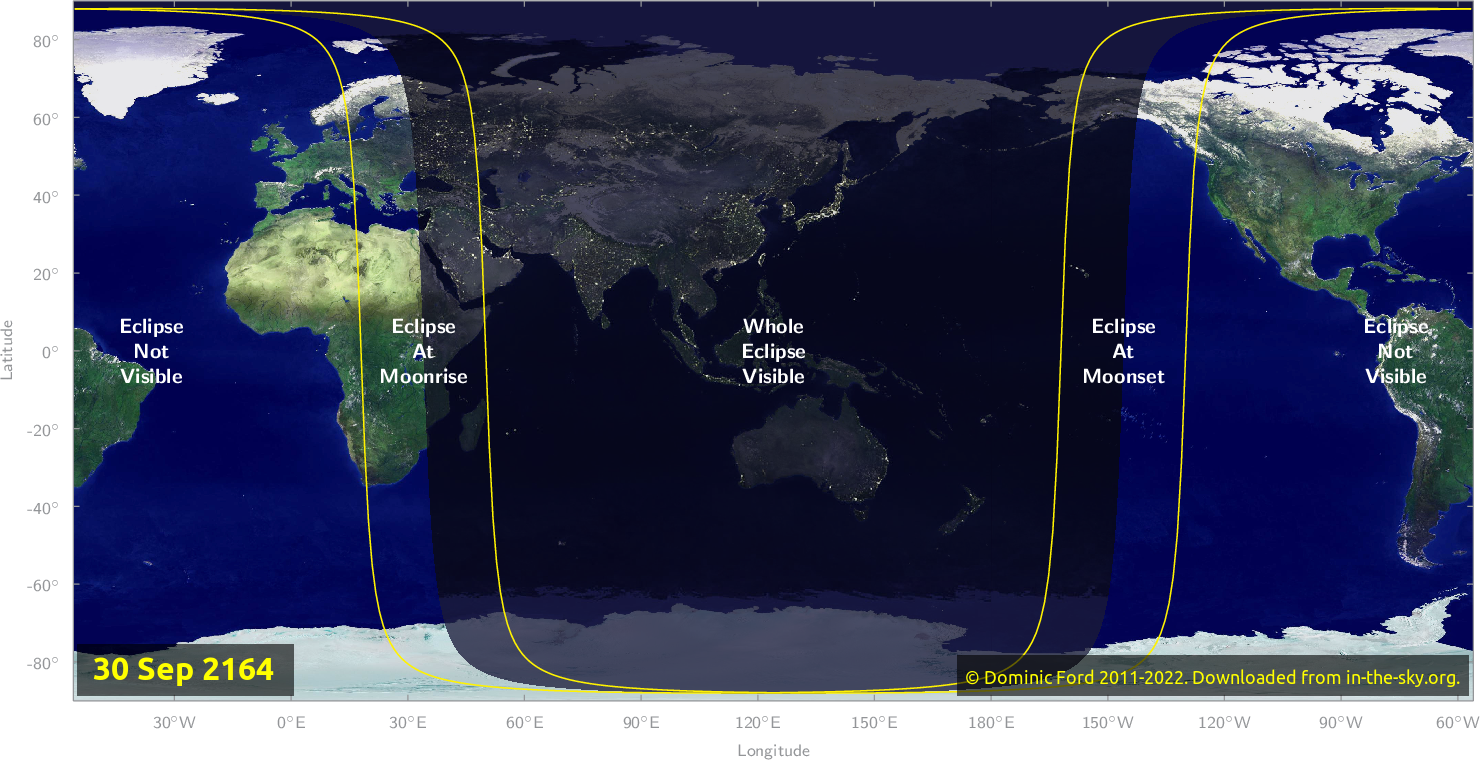 Map of where the eclipse of September 2164 will be visible.