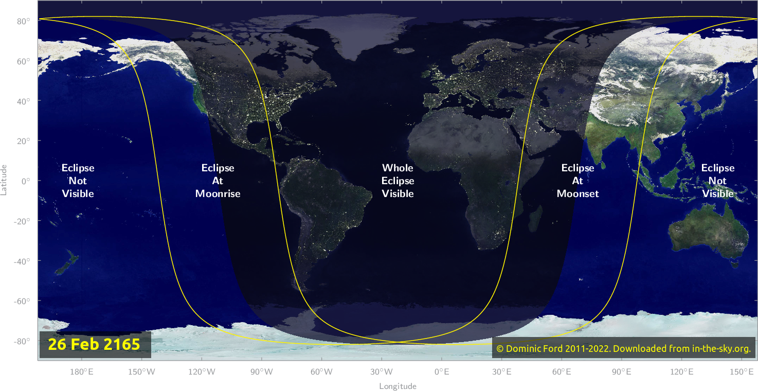 Map of where the eclipse of February 2165 will be visible.