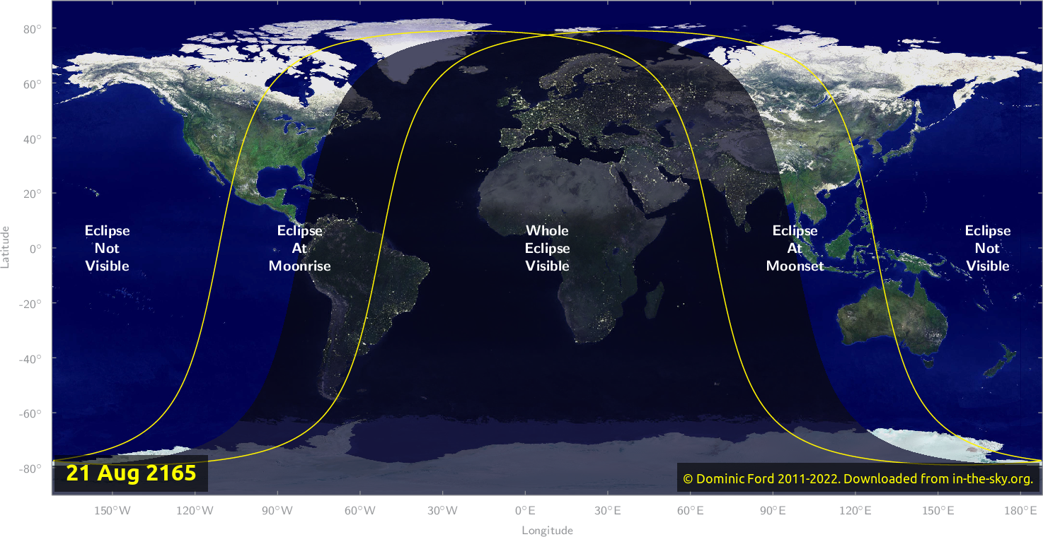 Map of where the eclipse of August 2165 will be visible.