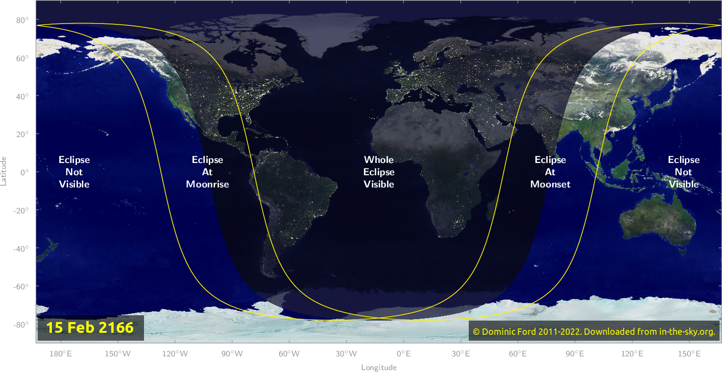 Map of where the eclipse of February 2166 will be visible.