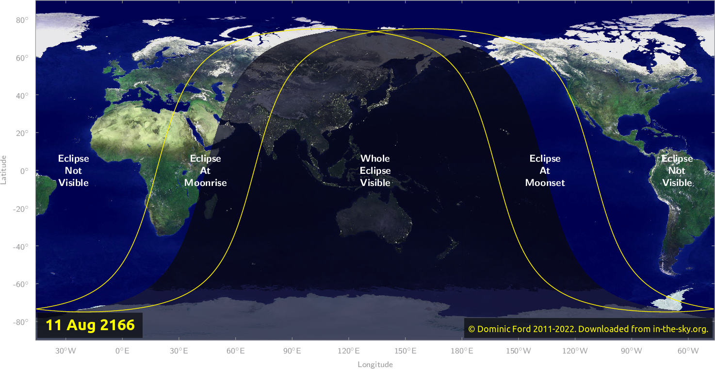 Map of where the eclipse of August 2166 will be visible.