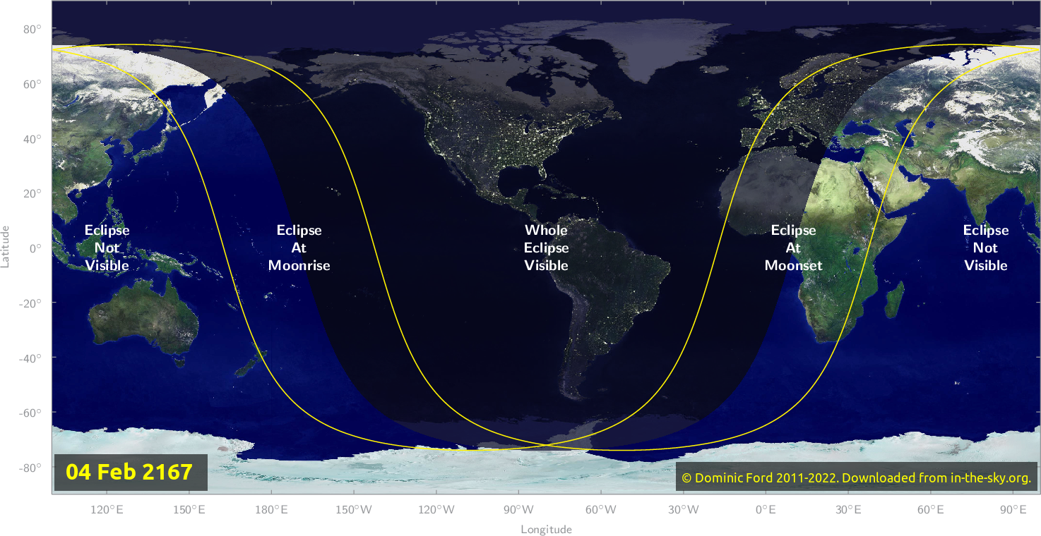 Map of where the eclipse of February 2167 will be visible.