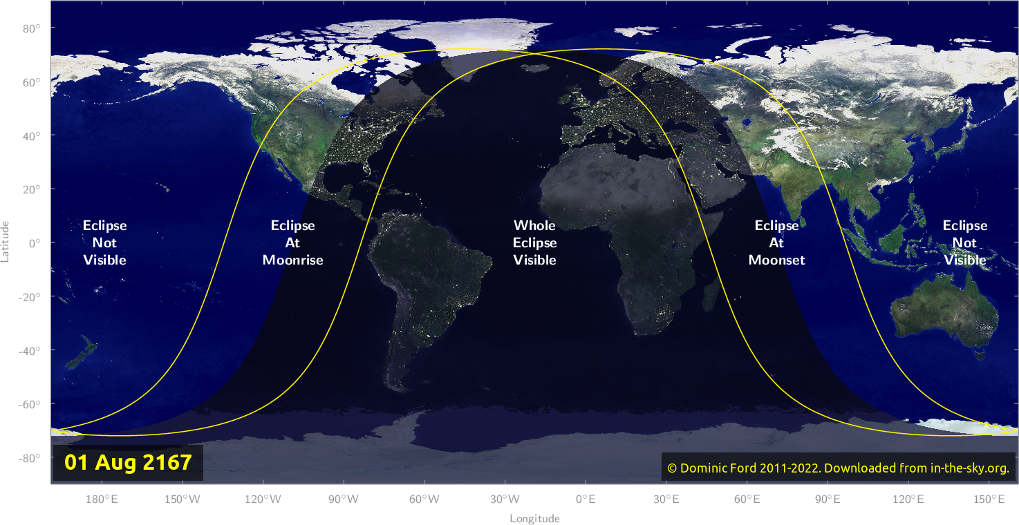 Map of where the eclipse of July 2167 will be visible.