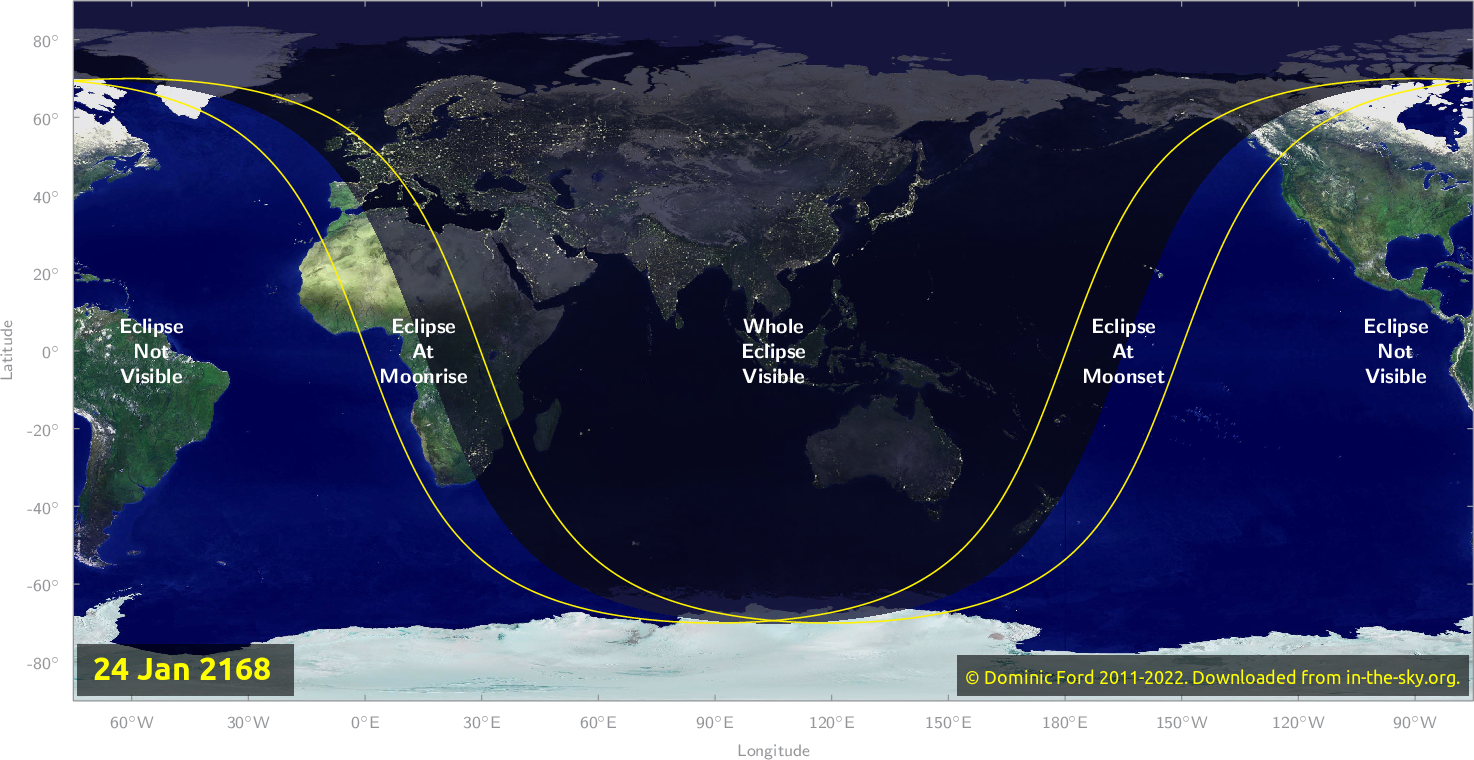 Map of where the eclipse of January 2168 will be visible.