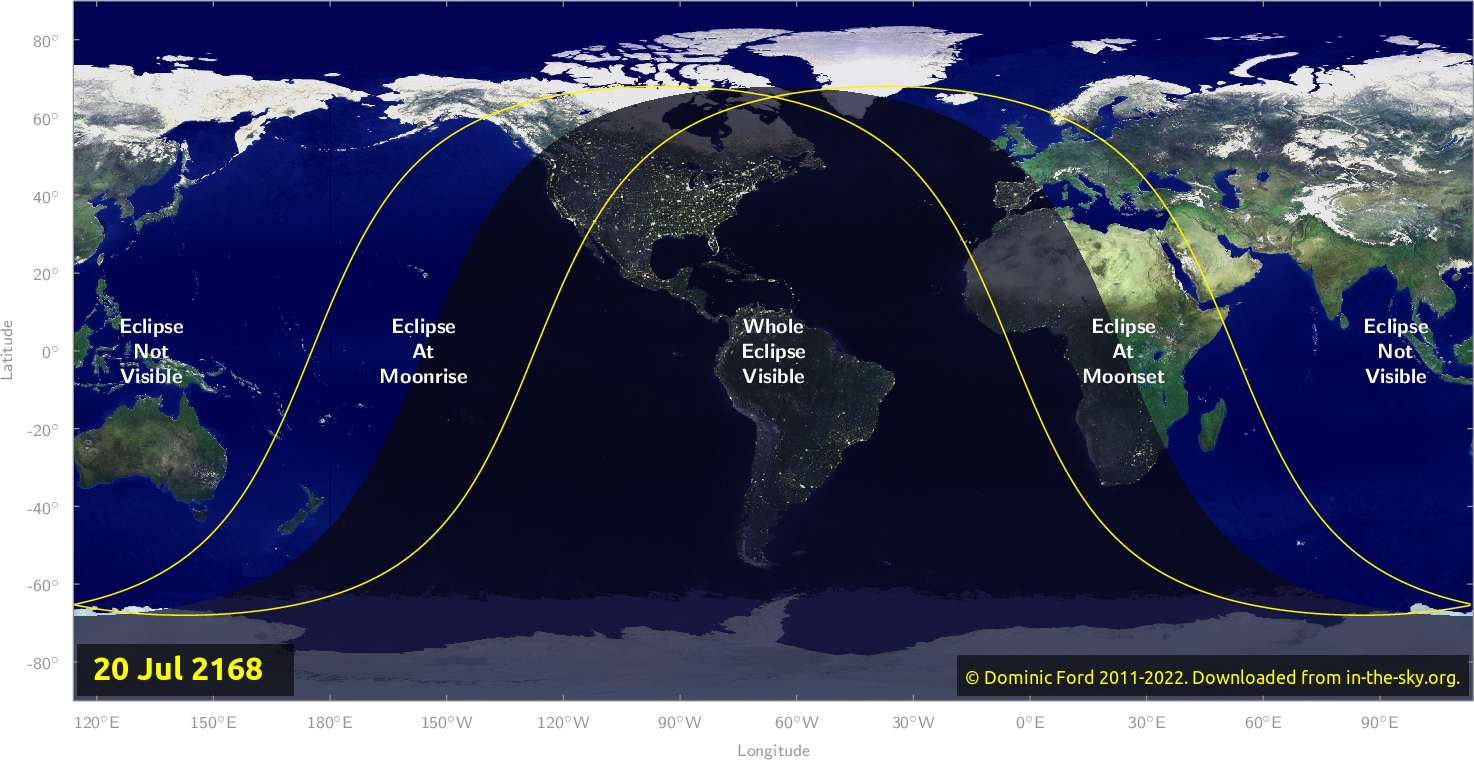 Map of where the eclipse of July 2168 will be visible.